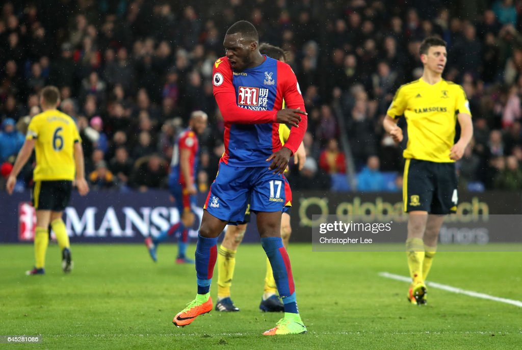 Christian Benteke of Crystal Palace reacts during the Premier League match between Crystal Palace and Middlesbrough at Selhurst Park on February 25, 2017 in London, England.