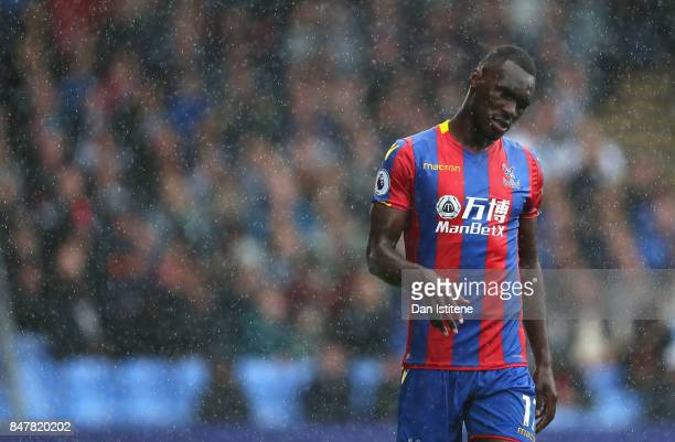 Christian Benteke of Crystal Palace reacts during the Premier League match between Crystal Palace and Southampton at Selhurst Park on September 16...