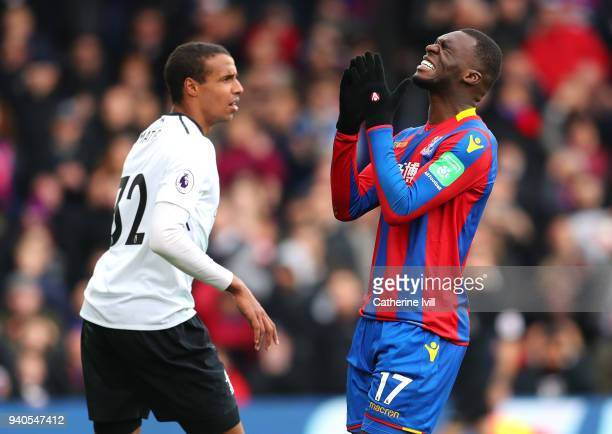 Christian Benteke of Crystal Palace reacts during the Premier League match between Crystal Palace and Liverpool at Selhurst Park on March 31 2018 in...