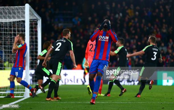 Christian Benteke of Crystal Palace reacts to missing a penalty during the Premier League match between Crystal Palace and AFC Bournemouth at...