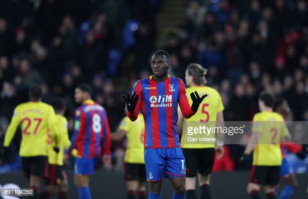 Christian Benteke of Crystal Palace reatcs to an officials decision the Premier League match between Crystal Palace and Watford at Selhurst Park on...