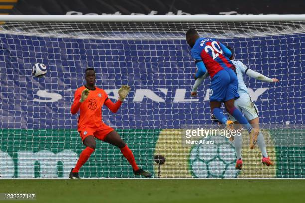 Christian Benteke of Crystal Palace scores a goal to make it 1-3 during the Premier League match between Crystal Palace and Chelsea at Selhurst Park...