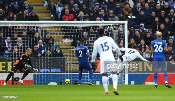 Christian Benteke of Crystal Palace scores his sides first goal during the Premier League match between Leicester City and Crystal Palace at The King...