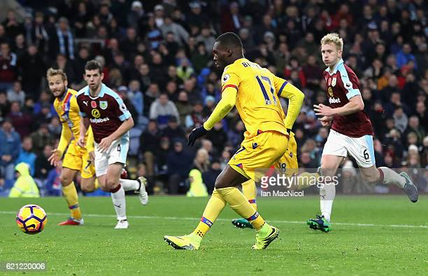 Christian Benteke of Crystal Palace scores his sides second goal from the penalty spot during the Premier League match between Burnley and Crystal...