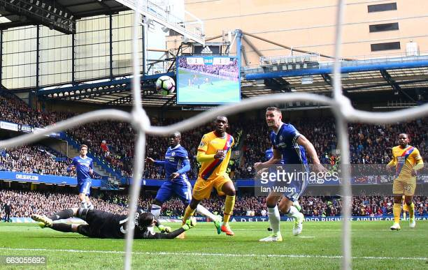 Christian Benteke of Crystal Palace scores his sides second goal during the Premier League match between Chelsea and Crystal Palace at Stamford...