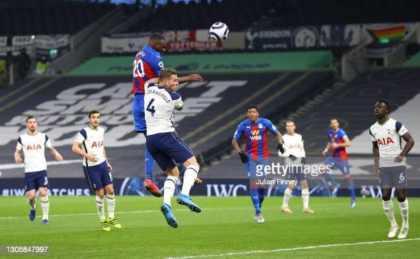 Christian Benteke of Crystal Palace scores their sides first goal during the Premier League match between Tottenham Hotspur and Crystal Palace at...