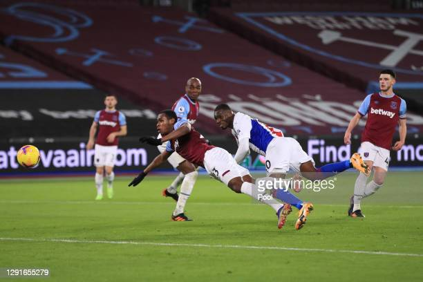 Christian Benteke of Crystal Palace scores their team's first goal during the Premier League match between West Ham United and Crystal Palace at...