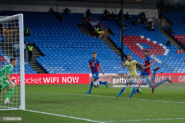 Christian Benteke of Crystal Palace scoring goal during the Premier League match between Crystal Palace and Arsenal at Selhurst Park on May 19, 2021...
