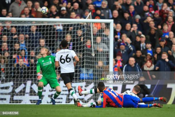 Christian Benteke of Crystal Palace shoots over from close range during the Premier League match between Crystal Palace and Liverpool at Selhurst...