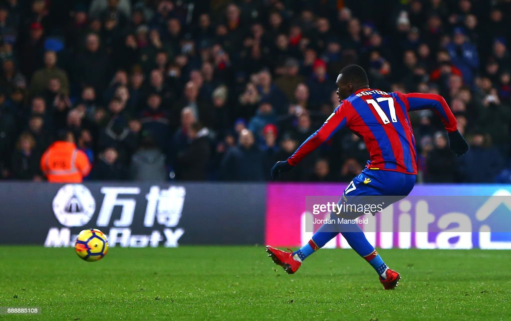 Christian Benteke of Crystal Palace takes a penalty and misses during the Premier League match between Crystal Palace and AFC Bournemouth at Selhurst Park on December 9, 2017 in London, England.