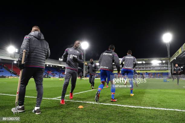 Christian Benteke of Crystal Palace warms up during the Premier League match between Crystal Palace and Watford at Selhurst Park on December 12 2017...
