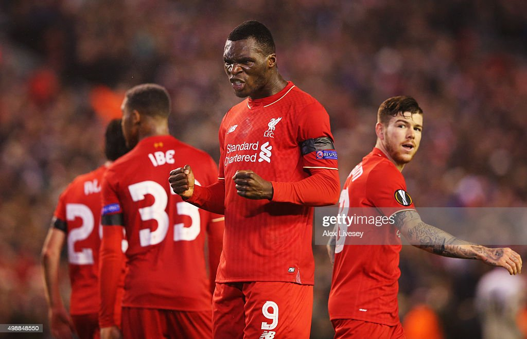 Christian Benteke of Liverpool celebrates as he scores their second goal during the UEFA Europa League Group B match between Liverpool FC and FC Girondins de Bordeaux at Anfield on November 26, 2015 in Liverpool, United Kingdom.