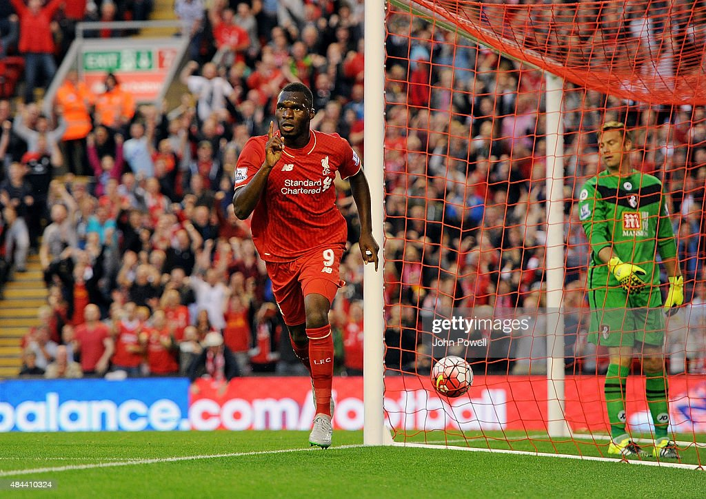 Christian Benteke of Liverpool celebrates his goal during the Barclays Premier League match between Liverpool and A.F.C. Bournemouth on August 17, 2015 in Liverpool, United Kingdom.