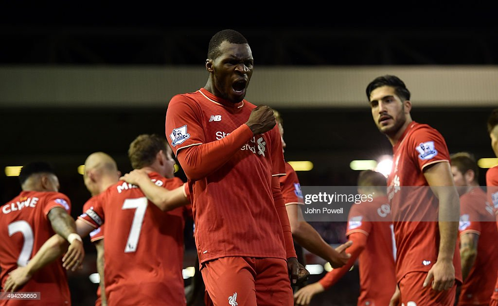 Christian Benteke of Liverpool celebrates his goal during the Barclays Premier League match between Liverpool and Southampton at Anfield on October 25, 2015 in Liverpool, England.