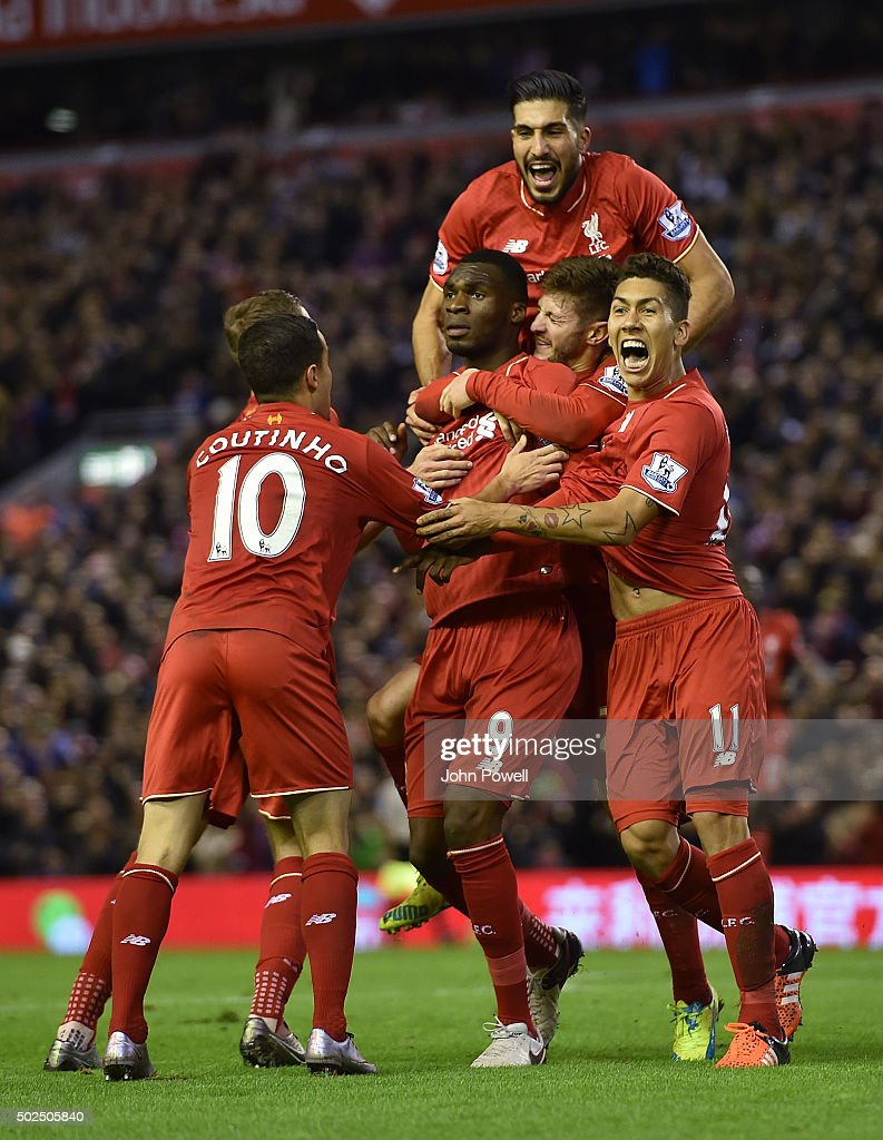 Christian Benteke of Liverpool celebrates his goal during the Barclays Premier League match between Liverpool and Leicester City at Anfield on December 26, 2015 in Liverpool, England.