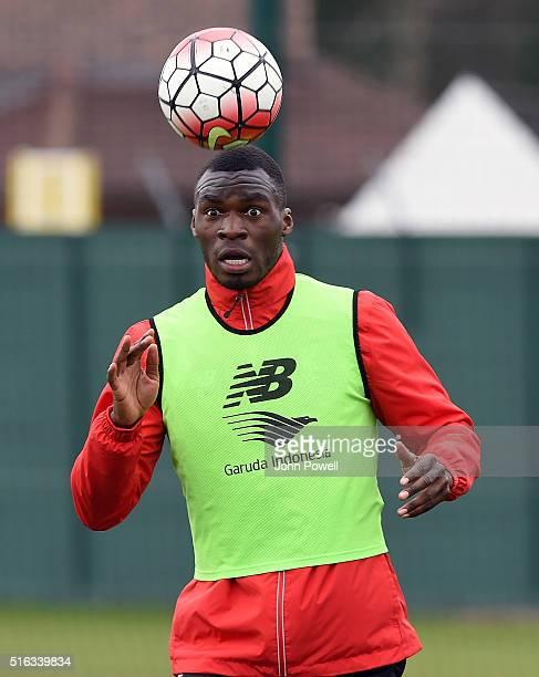 Christian Benteke of Liverpool during a training session at Melwood Training Ground on March 18, 2016 in Liverpool, England.