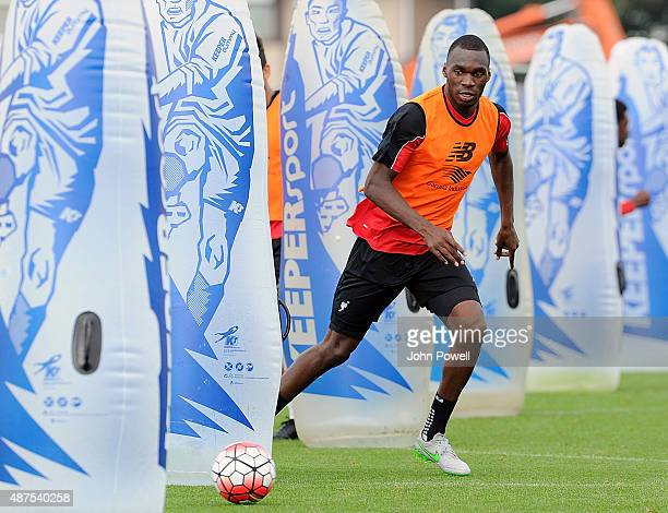 Christian Benteke of Liverpool in action during a training session at Melwood Training Ground on September 10 2015 in Liverpool England