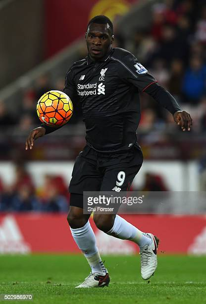 Christian Benteke of Liverpool in action during the Barclays Premier League match between Sunderland and Liverpoool at Stadium of Light on December...