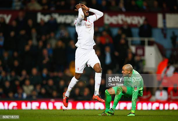 Christian Benteke of Liverpool reacts as he foiled by goalkeeper Darren Randolph of West Ham United during the Emirates FA Cup Fourth Round Replay...