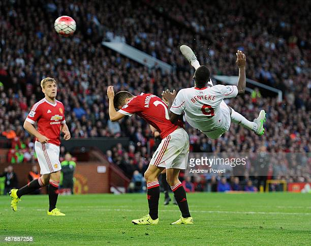 Christian Benteke of Liverpool scores an over head kick during the Barclays Premier League match between Manchester United and Liverpool on September...