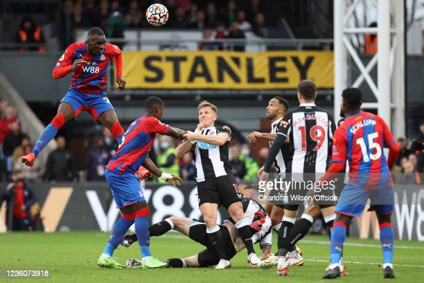 Christian Benteke of Palace scores their 2nd goal but this is later disallowed by VAR during the Premier League match between Crystal Palace and...