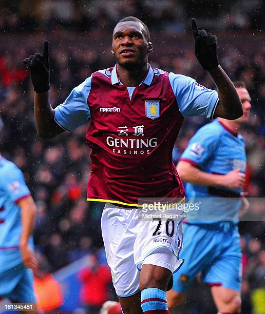 Christian Benteke of Villa celebrates scoring a penalty to make it 10 during the Barclays Premier League match between Aston Villa and West Ham...