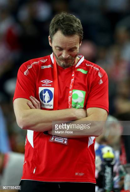 Christian Berge head coach of Norway looks dejected during the Men's Handball European Championship main round match between Croatia and Norway at...