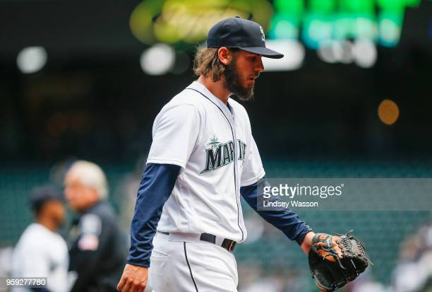 Christian Bergman of the Seattle Mariners walks off the field after pitching against the Texas Rangers in the third inning at Safeco Field on May 16...