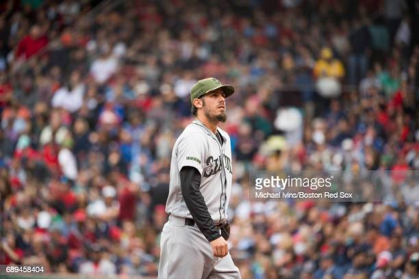 Christian Bergman of the Seattle Mariners walks off the mound after pitching against the Boston Red Sox in the seventh inning at Fenway Park on May...