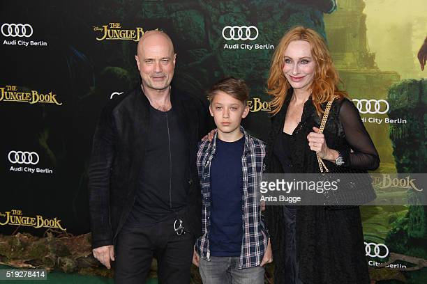 Christian Berkel and Andrea Sawatzki with their son Bruno attend the 'The Jungle Book' Germany premiere on April 5 2016 in Berlin Germany