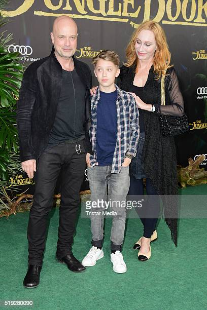 Christian Berkel and Andrea Sawatzki with their son Bruno Sawatzki and Ben Becker attend the 'The Jungle Book' German Premiere on April 05 2016 in...