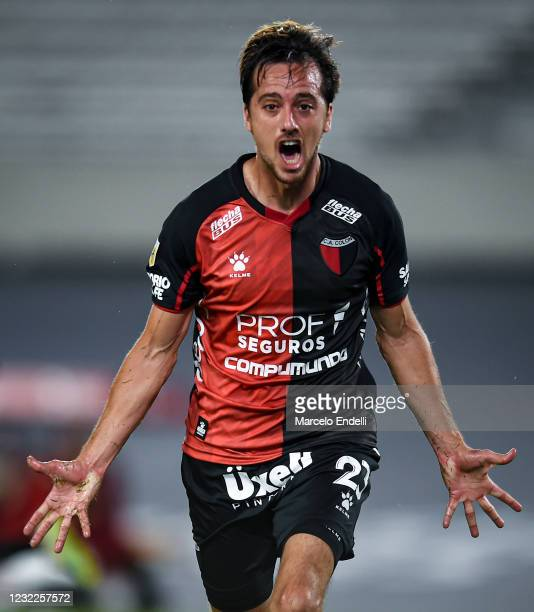 Christian Bernardi of Colon celebrates after scoring the first goal of his team during a match between River Plate and Colon as part of Copa de la...