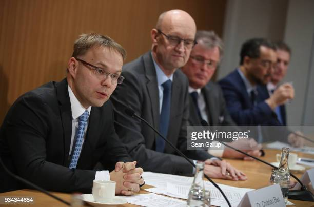 Christian Bex Frank Pasemann Udo Hemmelgarn Harald Weyel and Steffen Christ all of the rightwing Alternative for Germany political party arrive to...
