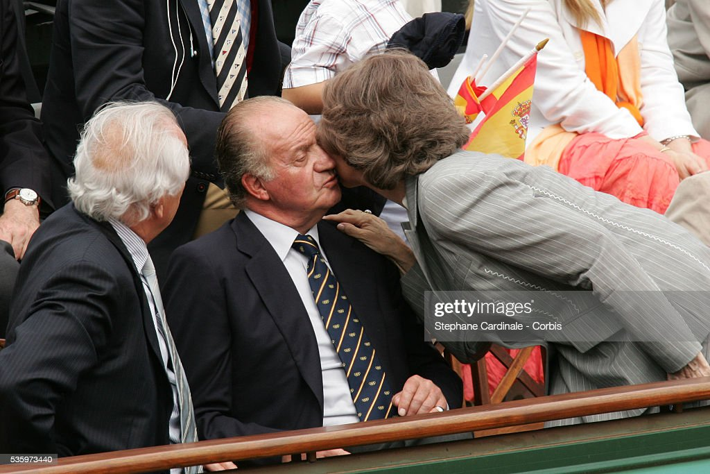 Christian Bim, HRH Juan Carlos of Spain with his wife during the French Open Mens Final at Roland Garros, Paris, France. Nadal won 6-7, 6-3, 6-1, 7-5.