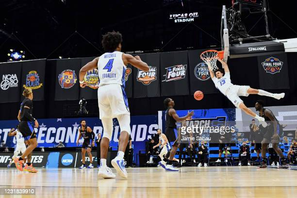 Christian Bishop of the Creighton Bluejays dunks in the first half against the UC Santa Barbara Gauchos in the first round of the 2021 NCAA Division...