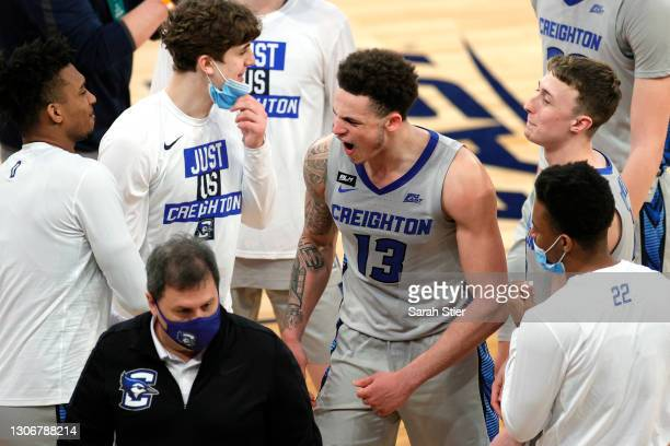 Christian Bishop of the Creighton Bluejays reacts after his team's win in the second half against the Connecticut Huskies during the Semifinals of...