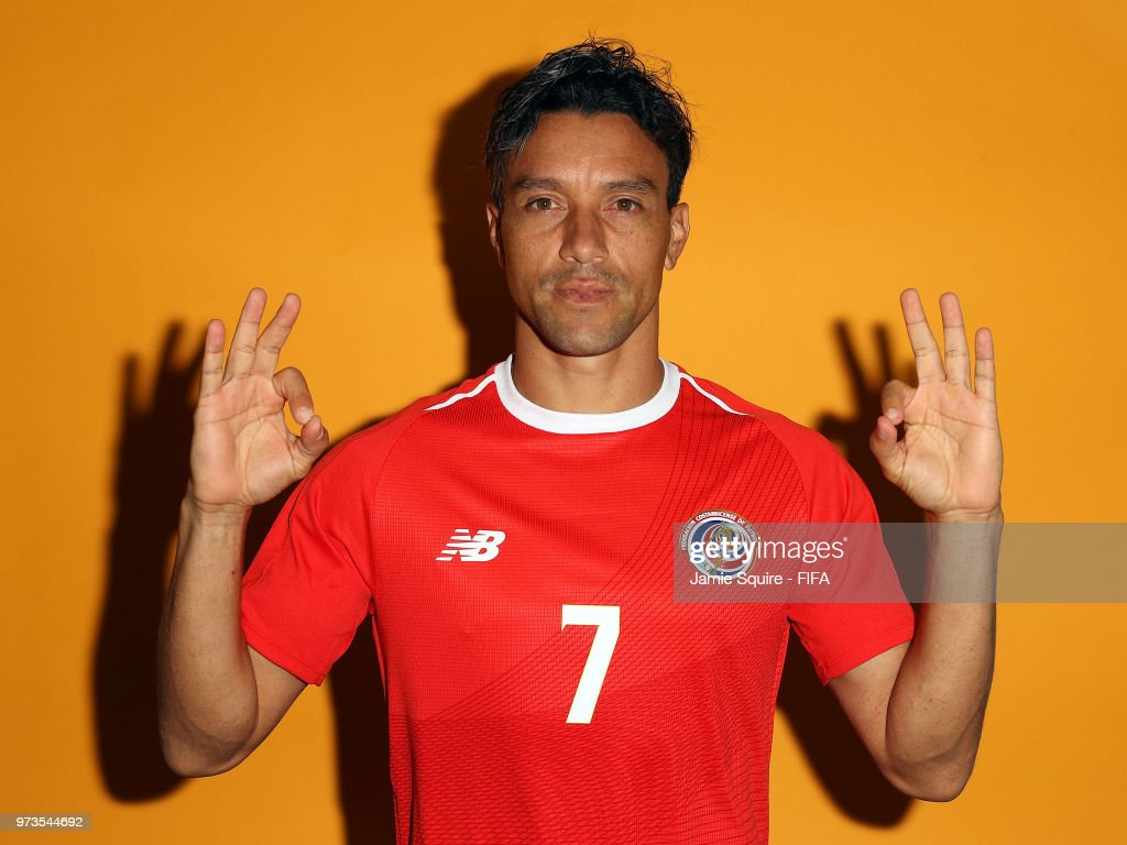 Christian Bola–os #7 of Costa Rica poses during the official FIFA World Cup 2018 portrait session at on June 13, 2018 in Saint Petersburg, Russia.