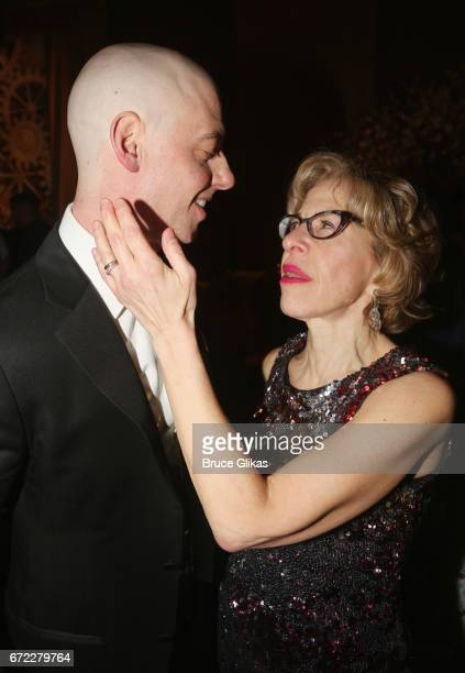 Christian Borle and Jackie Hoffman chat at the opening night after party for the new musical 'Charlie and The Chocolate Factory' on Broadway at Pier...