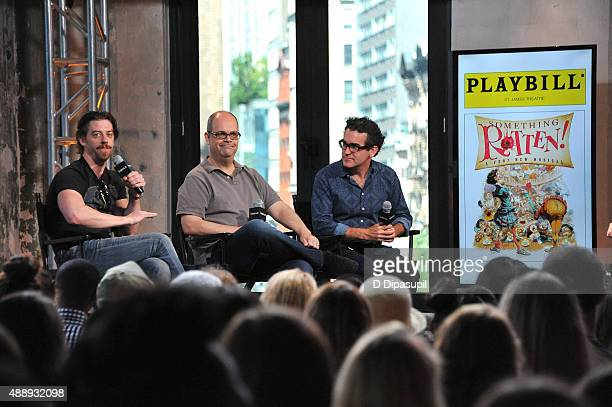 Christian Borle Brad Oscar and Brian D'Arcy James attend AOL BUILD Speaker Series Something Rotten at AOL Studios In New York on September 18 2015 in...