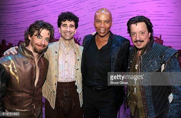 Christian Borle John Cariani RuPaul and Stacey Todd Holt pose backstage at the hit musical Something Rotten on Broadway at The St James Theatre on...