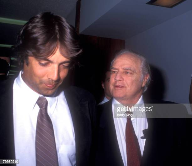 Christian Brando & father Marlon Brando at the trial for his son Christian Brando at Santa Monica Courthouse in Santa Monica, California on September...