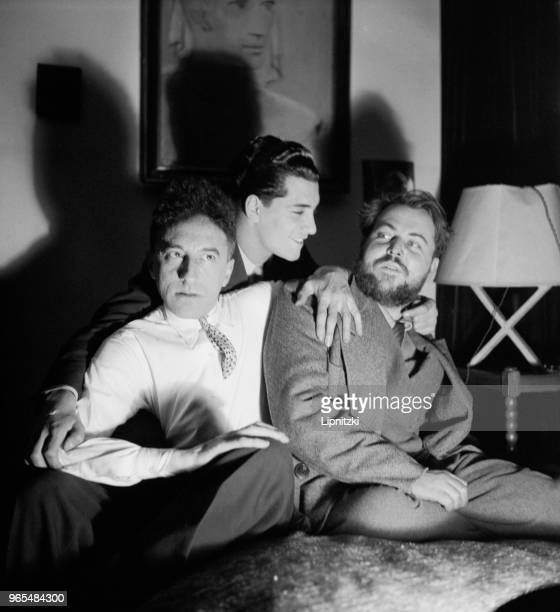 Christian Bérard , French painter and stage designer, Marcel Khill and Jean Cocteau , French writer . Paris, 1938.