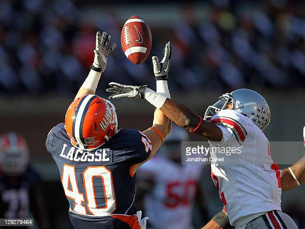 Christian Bryant of the Ohio State Buckeyes breakups a pass intended for Matt LaCosse of the Illinois Fighting Illini at Memorial Stadium on October...