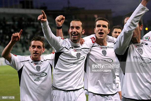 Christian Bucchi of AC Cesena celebrates a goal during the Serie B match between Reggina and Cesena at Stadio Oreste Granillo on January 16, 2010 in...