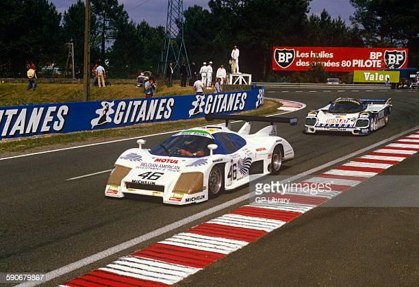 46 Christian Bussi Jack Griffin and M L Speer Rondeau M482 at Mulsanne Corner Le Mans 16 June 1985