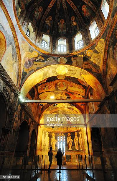 christian byzantine frescoes in chora church,istanbul,turkey. - kariye museum stock pictures, royalty-free photos & images