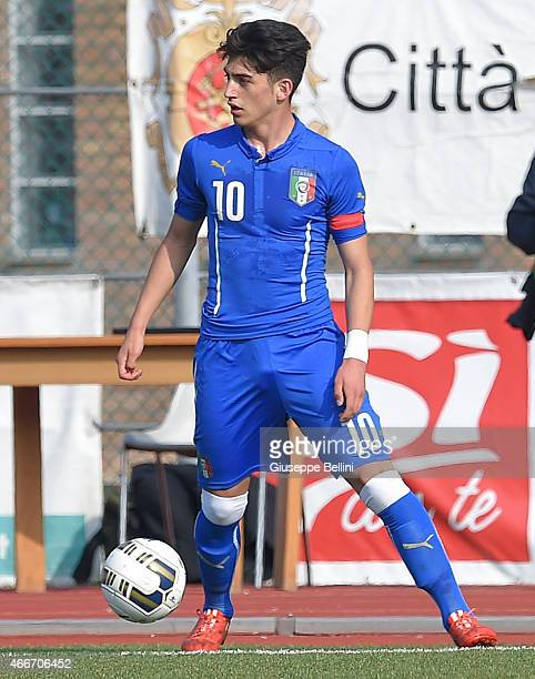 Christian Capone of Italy in action during the international friendly match between U16 Italy and U16 Germany on March 18 2015 in Recanati Italy