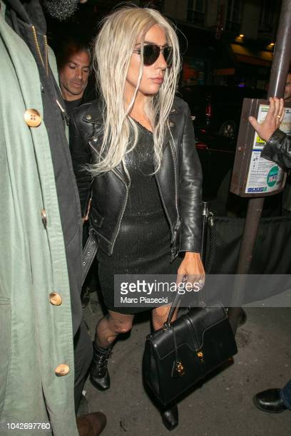 Christian Carino and Lady Gaga arrive at Bus Palladium Club on September 28 2018 in Paris France