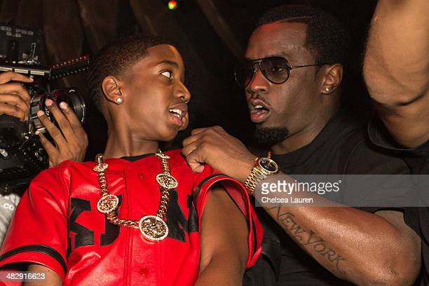 Christian Casey Combs and entertainment mogul Sean 'Diddy' Combs attend Christian Casey Combs' 16th birthday party at 1OAK on April 4 2014 in West...