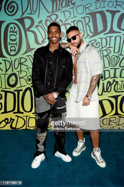 Christian Casey Combs and Maluma attend the Dior Men's Fall 2020 Runway Show on December 03 2019 in Miami Florida